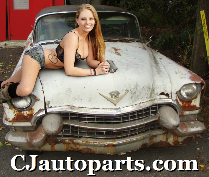 1955 Cadillac Coupe DeVille pinup girl topless nude model